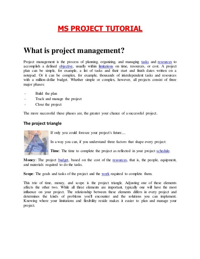 ms project management tutorial