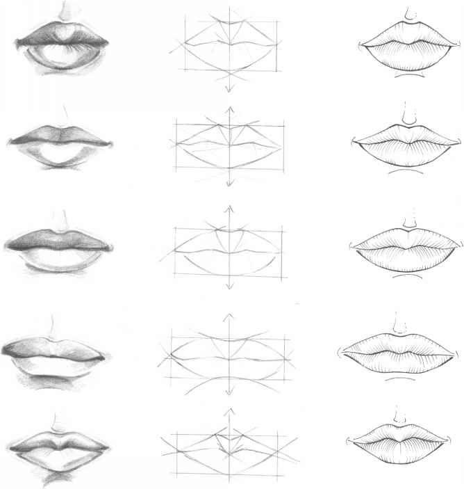 lip drawing pencil tutorial