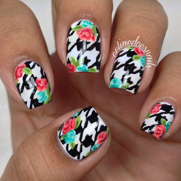 houndstooth nail art tutorial