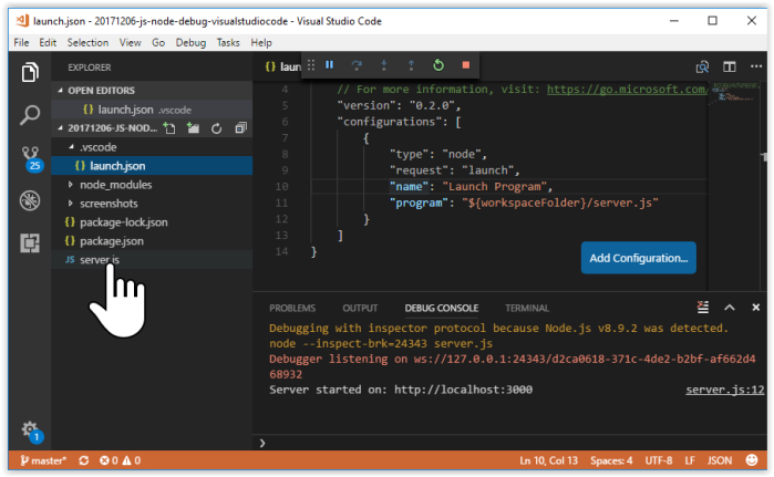 node js tutorial visual studio code