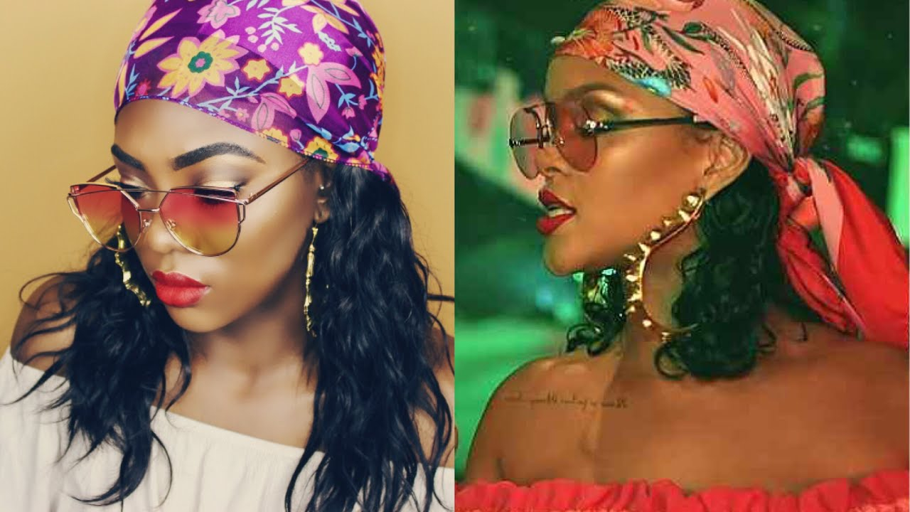 rihanna bandana hair tutorial