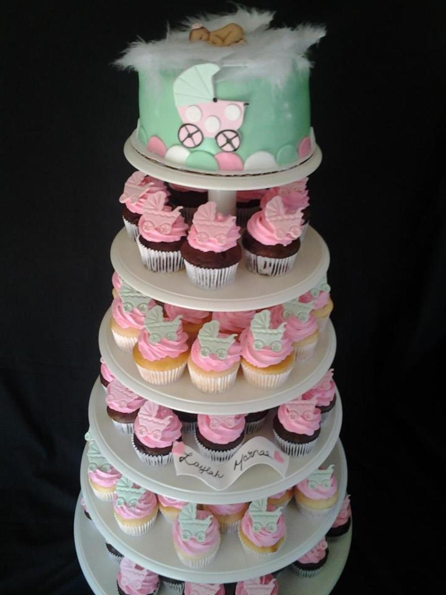 baby carriage cupcake cake tutorial