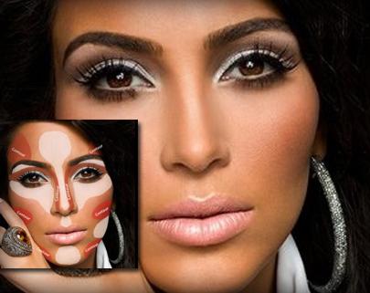 kim kardashian contouring makeup tutorial