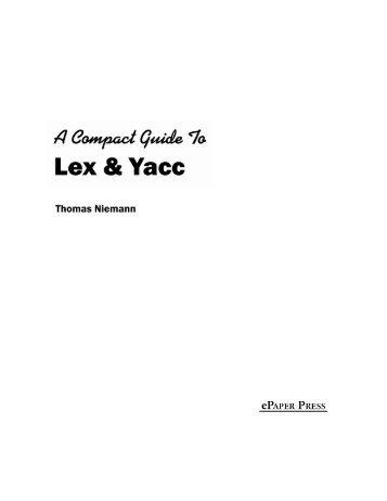 lex and yacc tutorial for beginners pdf