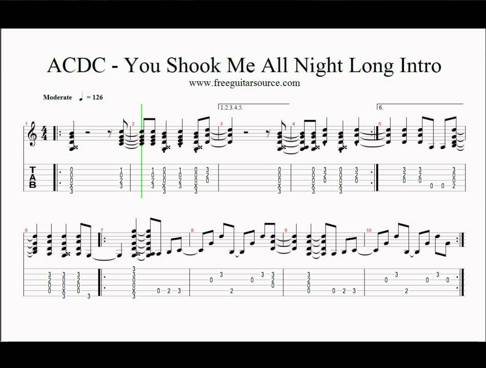 shook me all night long tutorial