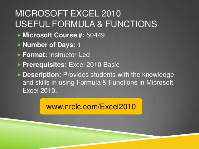 ms office excel 2010 tutorial pdf