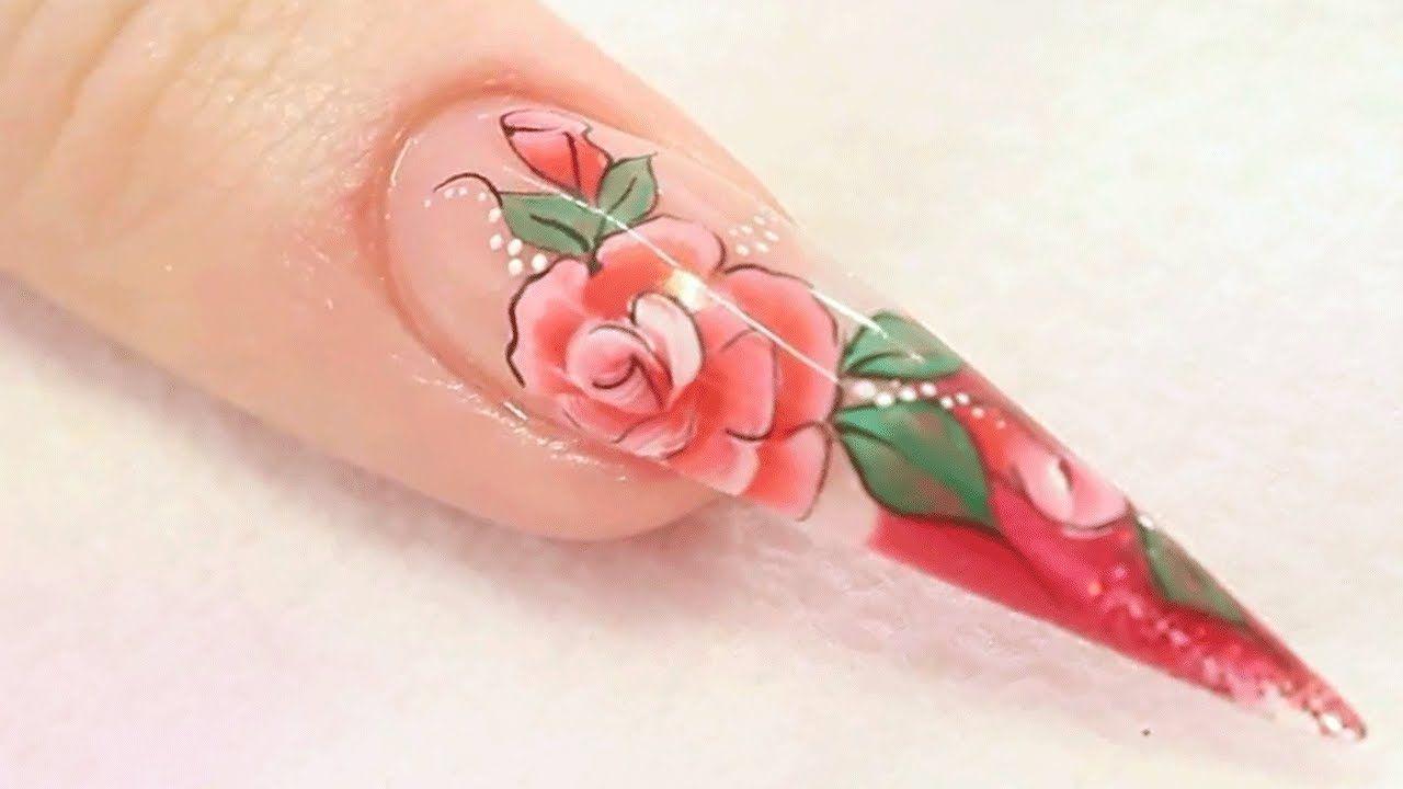 rose nail design tutorial