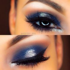 navy blue eye makeup tutorial