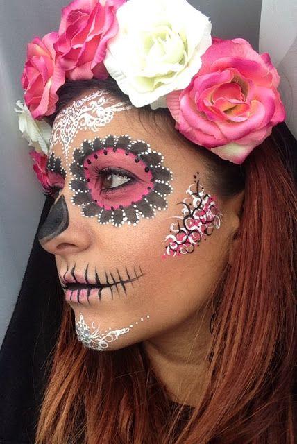 sugar skull half face makeup tutorial