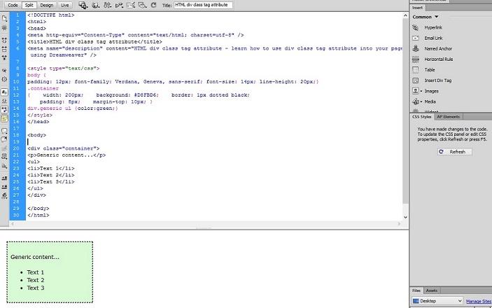 html div tag tutorial