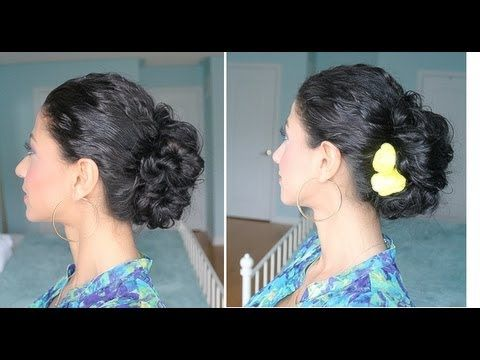 curly messy bun tutorial