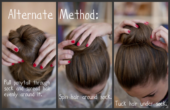 sock bun hair tutorial
