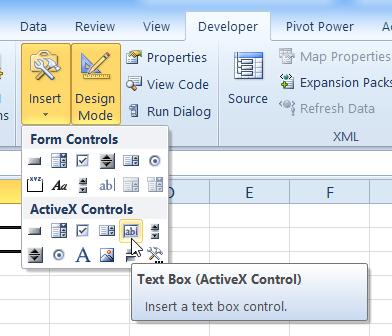 excel activex controls tutorial