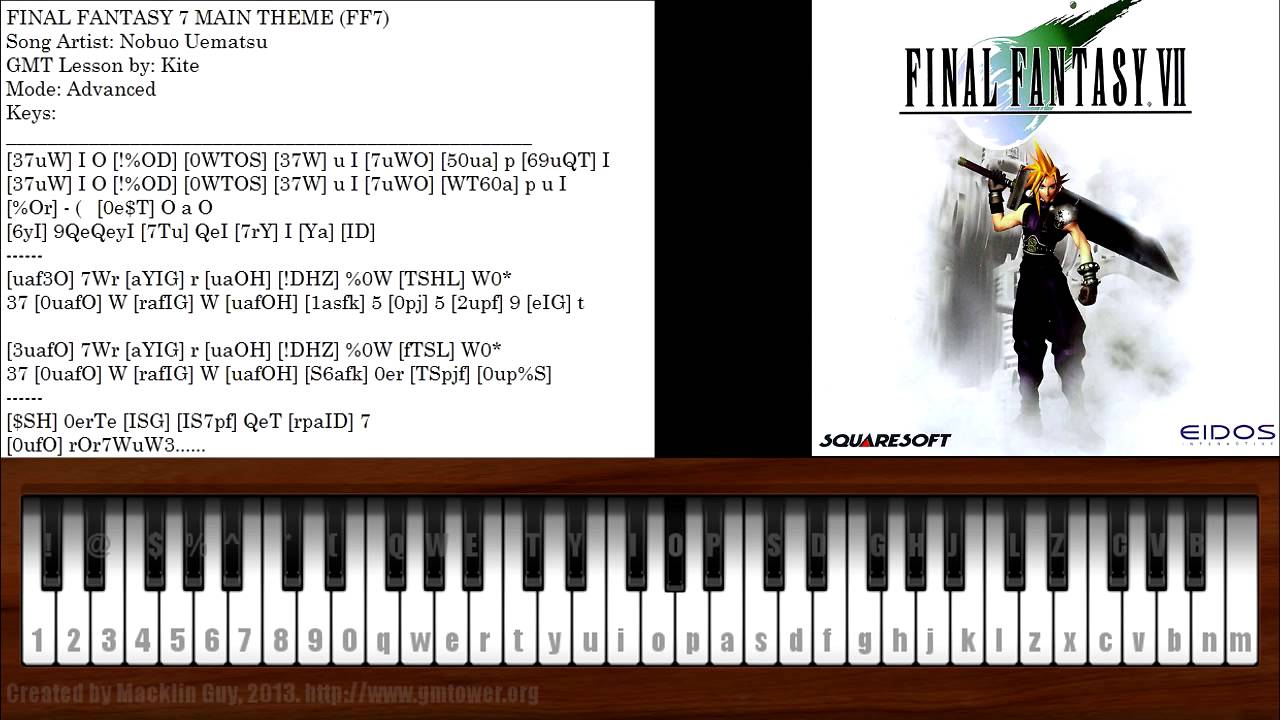 final fantasy 7 main theme piano tutorial