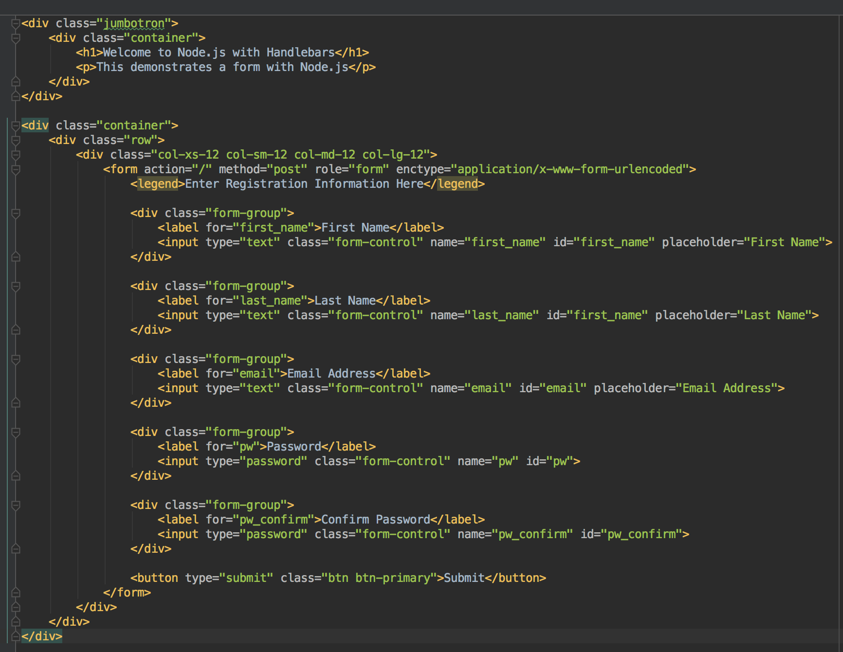handlebars node js tutorial