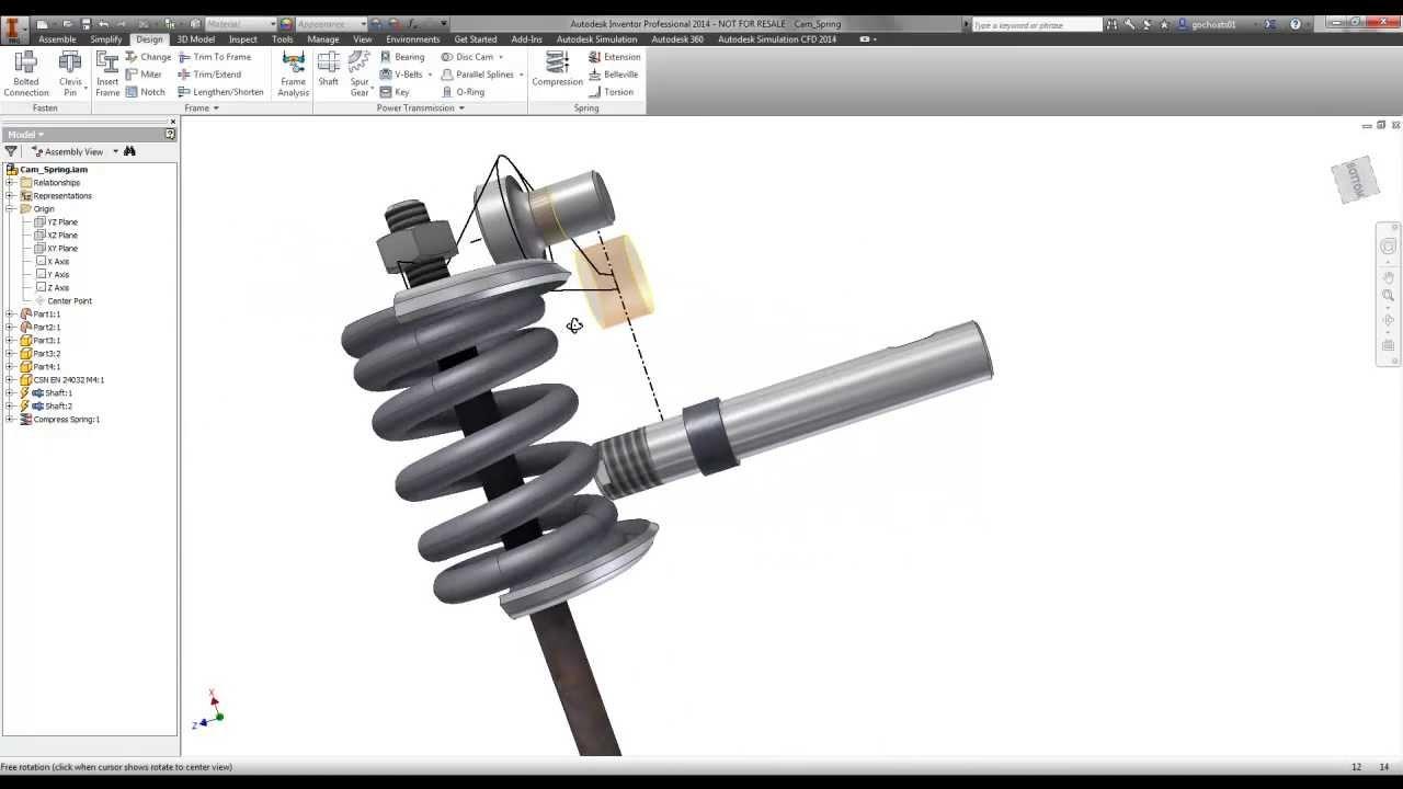 inventor compression spring tutorial