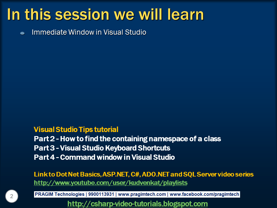 microsoft visual studio c# tutorial