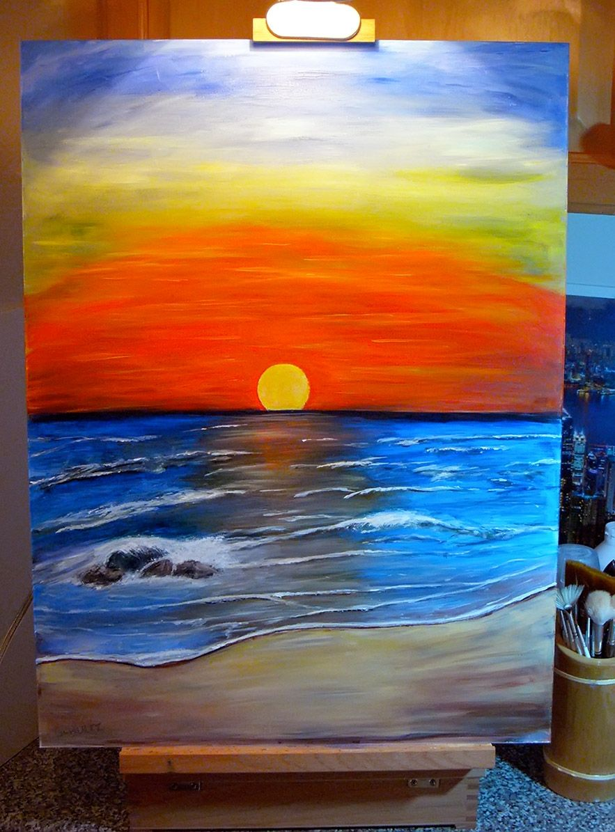 sunset acrylic painting tutorial