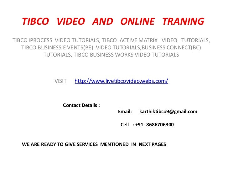 tibco business connect tutorial