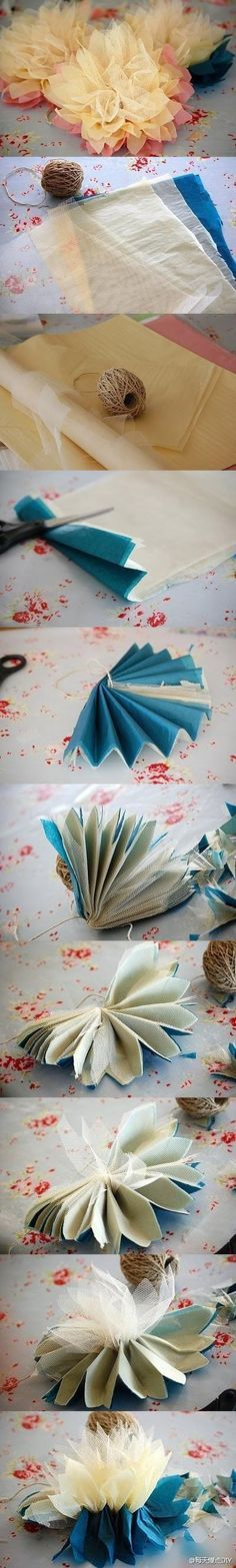 tulle flowers tutorial nice and easy