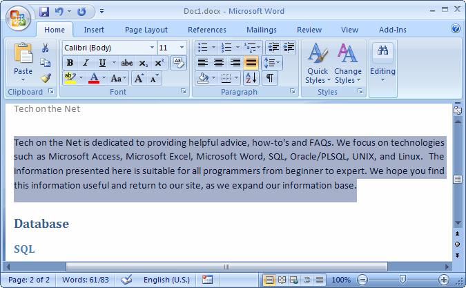 tutorial ms word 2007