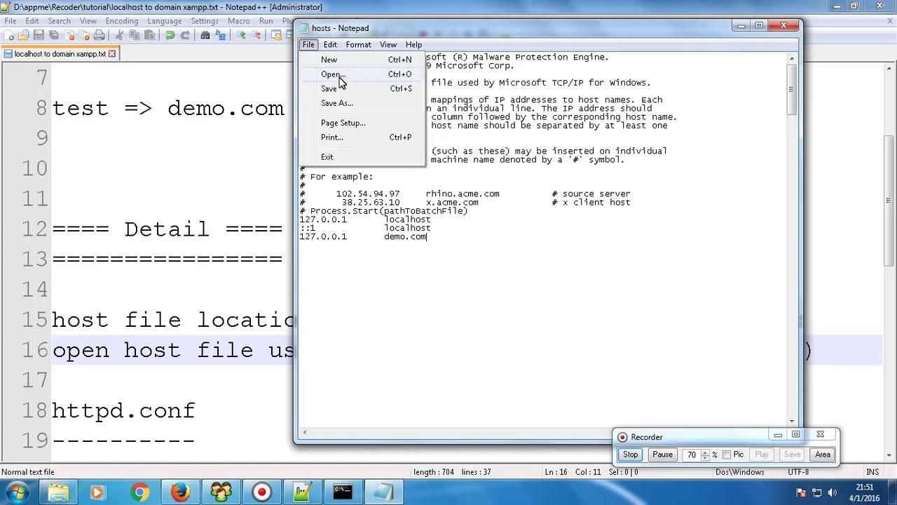 xampp virtual host multiple domains tutorial